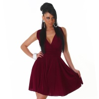 ELEGANT A-LINE MINIDRESS WITH CROSSED-OVER STRAPS WINE-RED