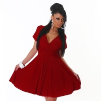 ELEGANT A-LINE MINIDRESS WITH CROSSED-OVER STRAPS DARK RED