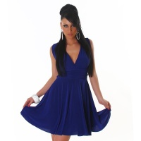 ELEGANT A-LINE MINIDRESS WITH CROSSED-OVER STRAPS ROYAL BLUE