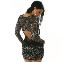 ELEGANT LACE EVENING DRESS BLACK/WHITE