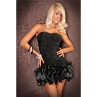 ELEGANT BANDEAU EVENING DRESS BLACK
