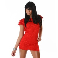 ELEGANT LACE EVENING DRESS MINIDRESS SATIN RED