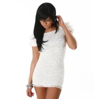 ELEGANT LACE EVENING DRESS MINI DRESS SATIN WHITE