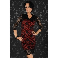ELEGANT EVENING DRESS MINIDRESS MADE OF LACE BLACK/RED