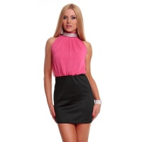 ELEGANT EVENING DRESS MINIDRESS WITH CHIFFON FUCHSIA/BLACK