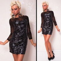 ELEGANT EVENING DRESS MINIDRESS WITH CHIFFON BLACK/SILVER