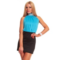 ELEGANT EVENING DRESS MINIDRESS WITH CHIFFON TURQUOISE/BLACK