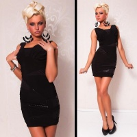 ELEGANT EVENING DRESS MINIDRESS WITH SEQUINS BLACK