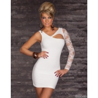 ELEGANT EVENING DRESS MINI DRESS WITH LACE CREAM UK 10/12 (M/L)