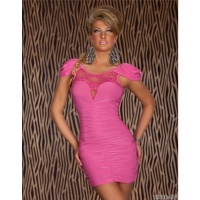 ELEGANT EVENING DRESS MINIDRESS WITH LACE FUCHSIA