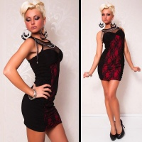 ELEGANT EVENING DRESS MINIDRESS WITH LACE BLACK/RED
