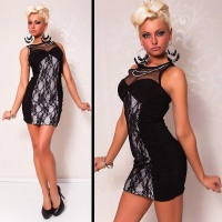 ELEGANT EVENING DRESS MINIDRESS WITH LACE BLACK/WHITE