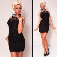 ELEGANT EVENING DRESS MINIDRESS WITH LACE BLACK