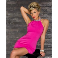 ELEGANT EVENING DRESS MINIDRESS RHINESTONE-LOOK FUCHSIA