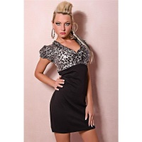 ELEGANT EVENING DRESS WITH FRILLS LEOPARD-LOOK BLACK/GREY