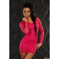 ELEGANT EVENING DRESS WITH LACE FUCHSIA