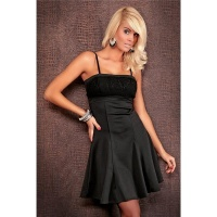 ELEGANT EVENING DRESS WITH KNITTING BLACK UK 8 (S)