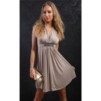 ELEGANT EVENING DRESS RHINESTONE-LOOK WITH DRAPES BEIGE