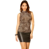 ELEGANT SLEEVELESS LADIES SHIRT WITH STAND-UP COLLAR LEOPARD-BROWN