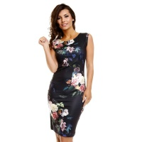 ELEGANT SLEEVELESS DRESS WITH FLORAL PATTERN BLACK