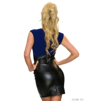 ELEGANT SLEEVELESS MINIDRESS IN LEATHER-LOOK NAVY/BLACK