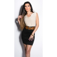 ELEGANT SLEEVELESS MINIDRESS WITH BELT BEIGE/BLACK