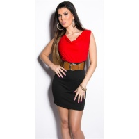 ELEGANT SLEEVELESS MINI DRESS WITH BELT RED/BLACK