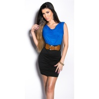 ELEGANT SLEEVELESS MINIDRESS WITH BELT ROYAL BLUE/BLACK