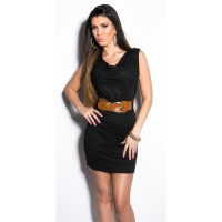 ELEGANT SLEEVELESS MINIDRESS WITH BELT BLACK