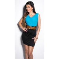 ELEGANT SLEEVELESS MINIDRESS WITH BELT TURQUOISE/BLACK