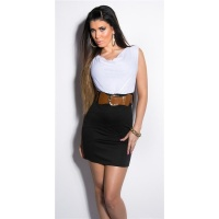 ELEGANT SLEEVELESS MINIDRESS WITH BELT WHITE/BLACK