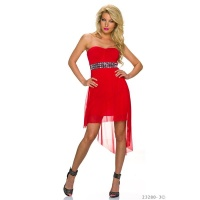 ELEGANT BANDEAU EVENING DRESS WITH CHIFFON AND RHINESTONES RED Onesize (UK 8,10,12)