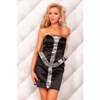 ELEGANTES BANDEAU ABENDKLEID COCKTAIL-KLEID AUS SATIN...