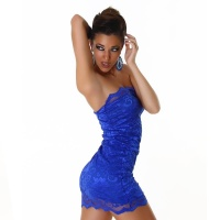 ELEGANT BANDEAU MINIDRESS MADE OF LACE BLUE