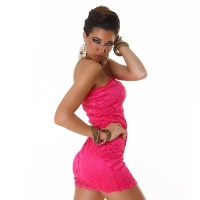ELEGANT BANDEAU MINIDRESS MADE OF LACE FUCHSIA UK 10/12 (M/L)