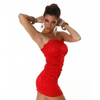 ELEGANT BANDEAU MINIDRESS MADE OF LACE RED