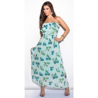 ELEGANT LONG MAXI DRESS WITH FLOWER DESIGN AND FLOUNCES...