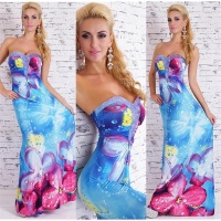 FLOOR-LENGTH STRAPLESS SUMMER MAXI DRESS WITH FLORAL...