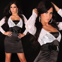 PRECIOUS BOLERO EVENING DRESS SATIN LACE BELT BLACK/WHITE