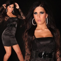 PRECIOUS BOLERO EVENING DRESS SATIN LACE BELT BLACK
