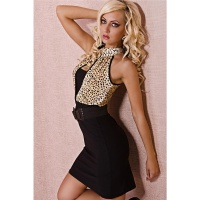 SEXY PENCIL DRESS WITH BELT LEO-LOOK BLACK / YELLOW-BROWN