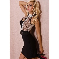 SEXY PENCIL DRESS WITH BELT LEO-LOOK BLACK / RED-BROWN