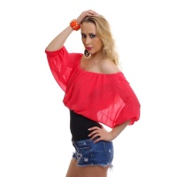 ELEGANT SHORT-SLEEVED CARMEN SHIRT WITH CHIFFON CORAL/BLACK