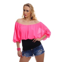 ELEGANT SHORT-SLEEVED CARMEN SHIRT WITH CHIFFON...