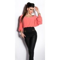 SEXY CARMEN SHIRT WITH BATWING SLEEVES CORAL/BLACK Onesize (UK 8,10,12)