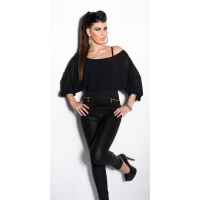 SEXY CARMEN SHIRT WITH BATWING SLEEVES BLACK Onesize (UK 8,10,12)
