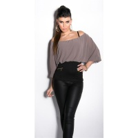 SEXY CARMEN SHIRT WITH BATWING SLEEVES TAUPE/BLACK Onesize (UK 8,10,12)