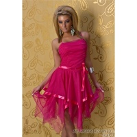 ELEGANT CHIFFON BALL GOWN COCKTAIL EVENING DRESS FUCHSIA