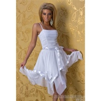 ELEGANT CHIFFON BALL GOWN COCKTAIL EVENING DRESS WHITE