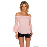 ELEGANT CHIFFON SHIRT IN CARMEN-STYLE WITH FLOUNCES PINK